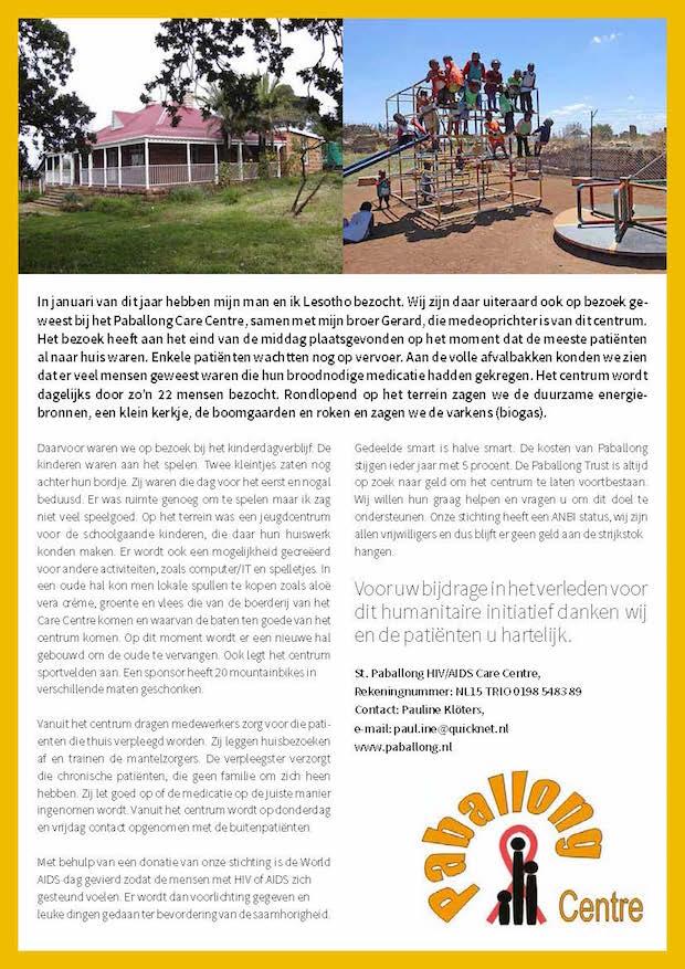 Bezoek aan Paballong Care Center te Lesotho